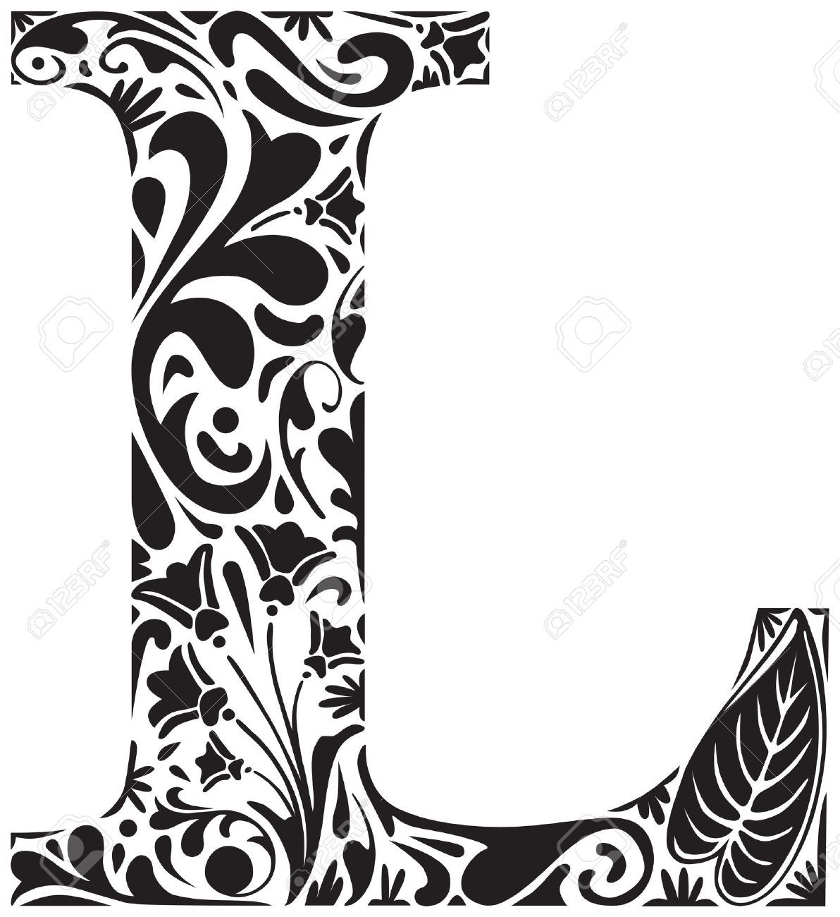 Floral Initial Capital Letter L Stock Vector