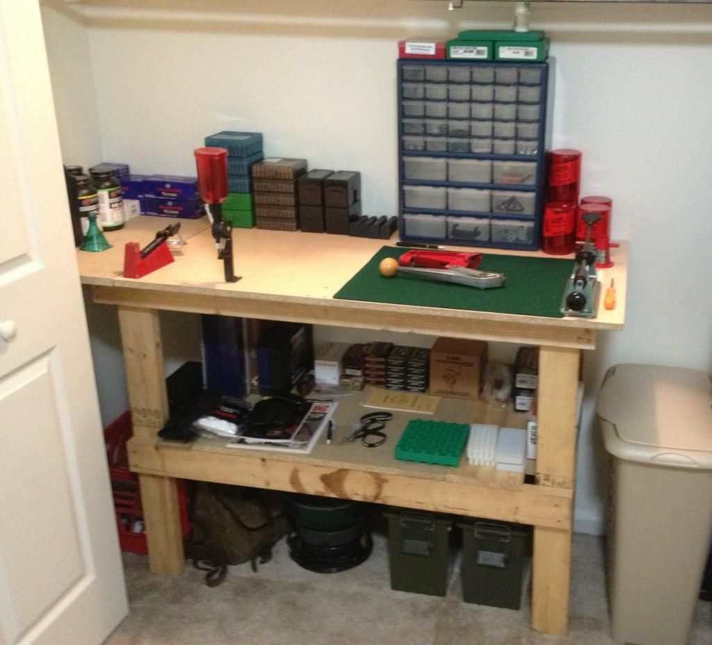 Workable reloading bench in closet