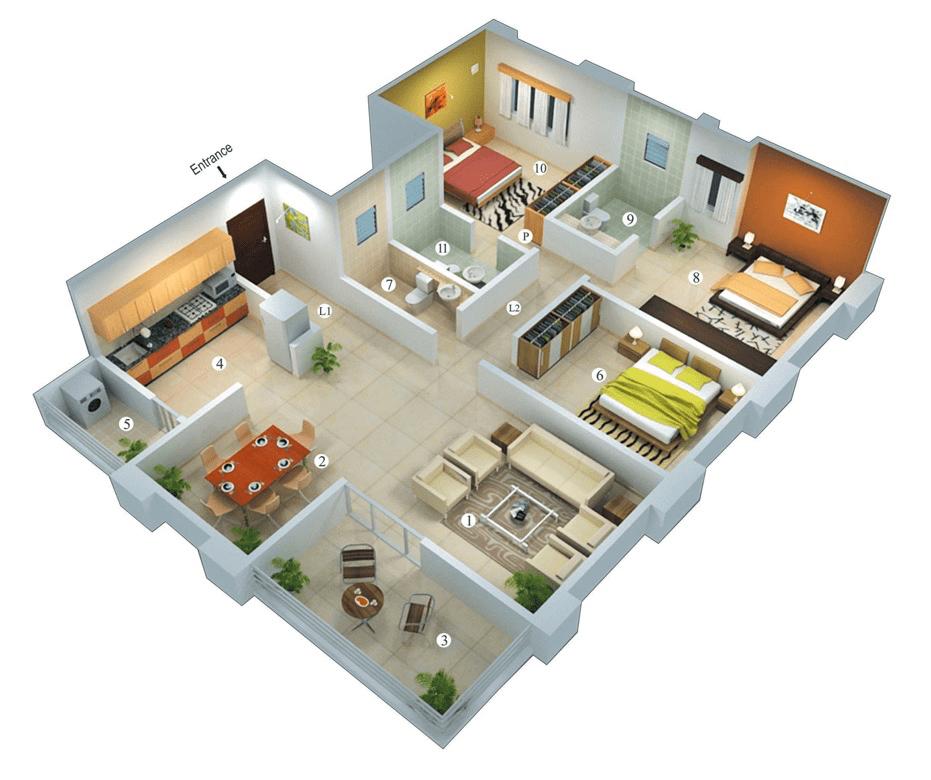 25 More 3 Bedroom 3D Floor Plans 3d Bedrooms And House