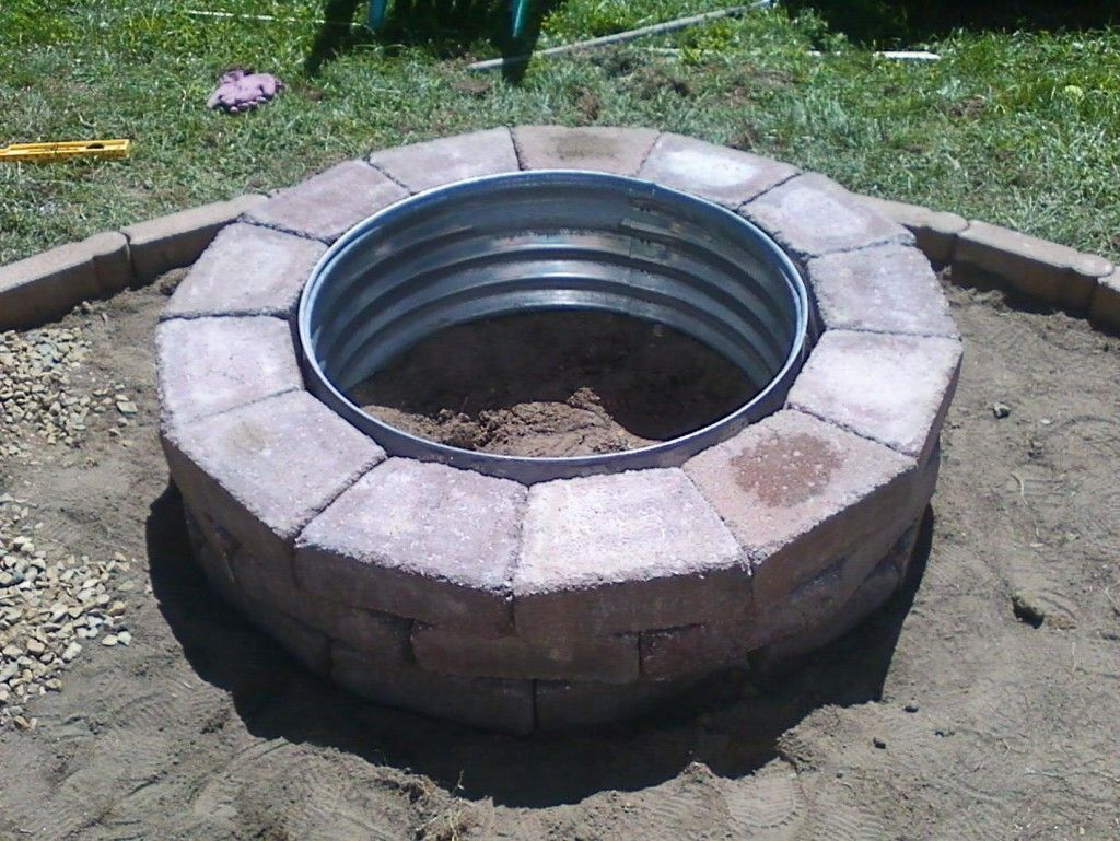 Galvanized and Brick Fire Pit Ring  Galvanized Fire Pit