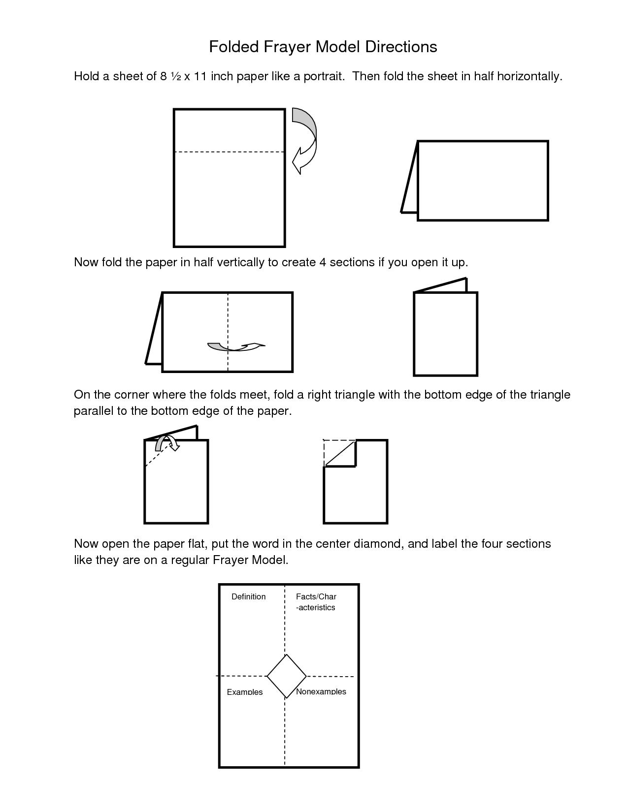 Frayer Model Template Word Directions For Folded Frayer Model