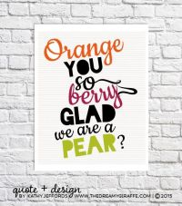 Couple Art Kitchen Quote Fruit Decor Funny Kitchen Puns ...