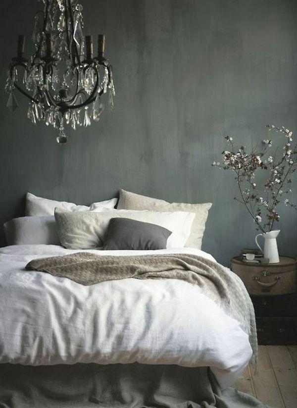 schlafzimmer graue wndgestaltung weie bettwsche  Love