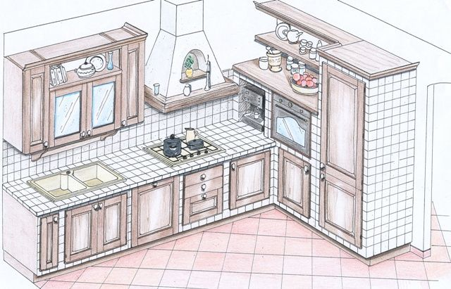 progetto cucina in muratura 3d  Cerca con Google  kitchen ideas  Pinterest  Woodwork Shabby