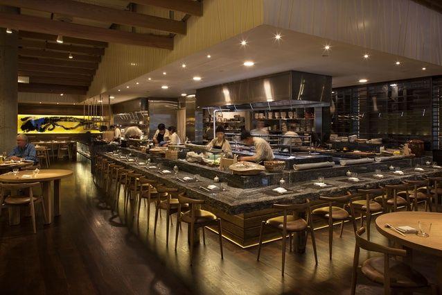 Masu restaurant openplan kitchen naturaledge alpine ash granite counter and calligraphy