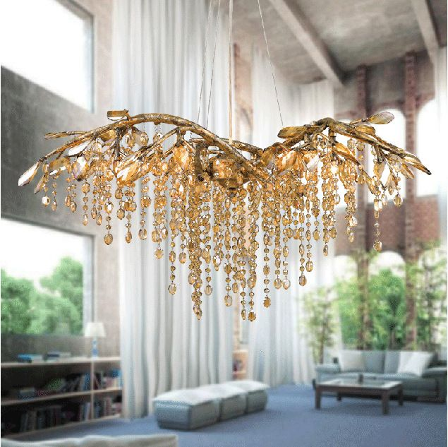 America Creative Rustic Style Simple Crystal Gold Tree Branch Chandelier To Decorate The Restaurant Living