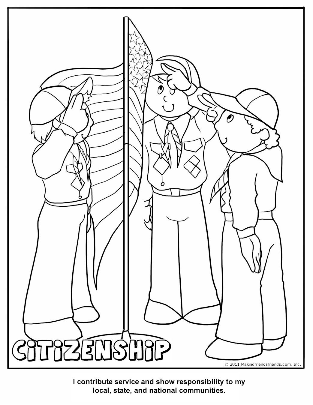 Printable Citizenship Coloring Page