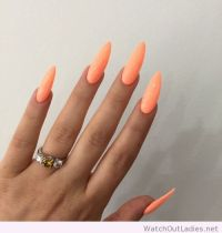 Long neon orange nails | - acrylic nails - | Pinterest ...