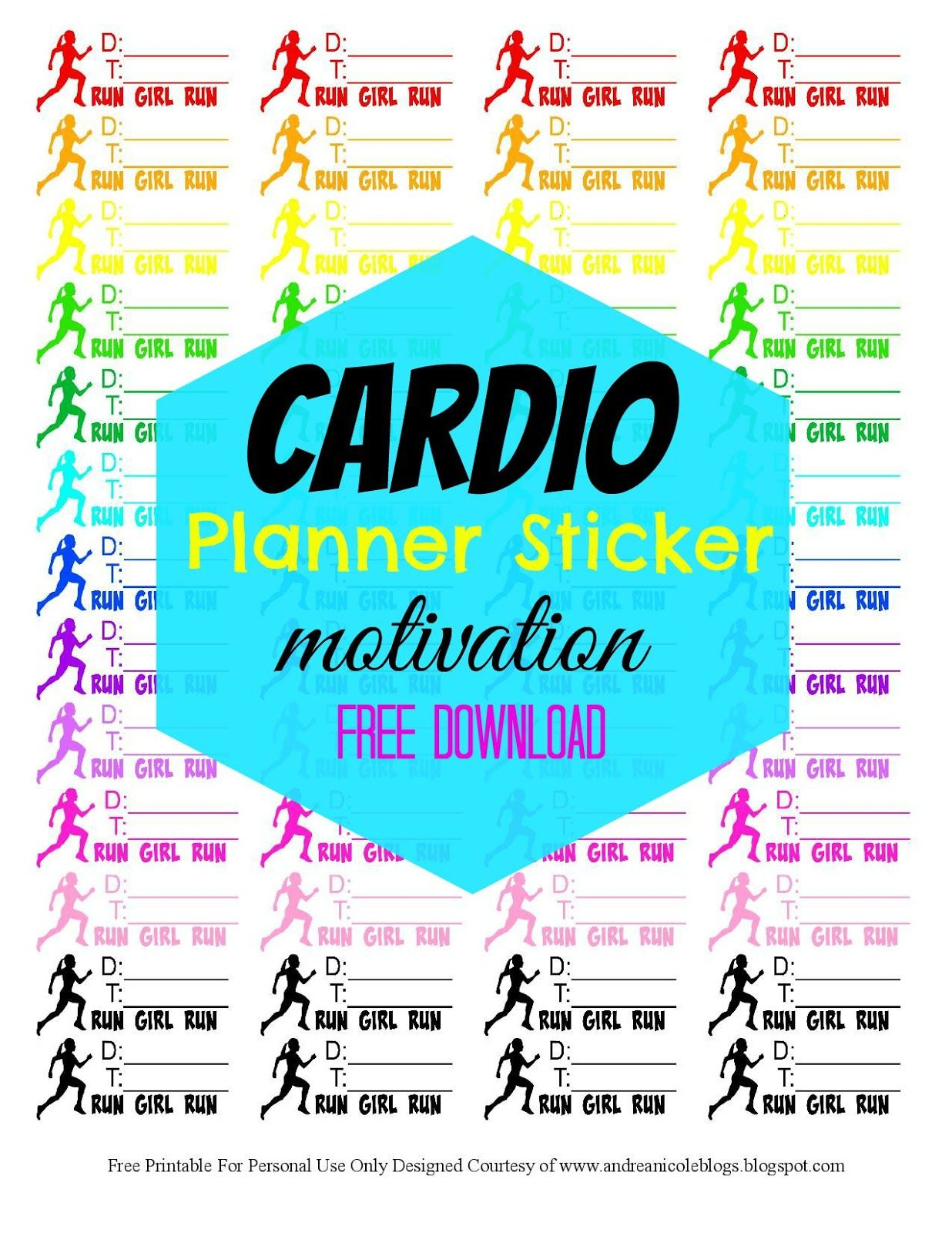 Free Printable Fitness Planner Stickers Andrea Nicole