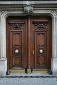Furniture, Artistic Brown Teak Wood Front Door With ...