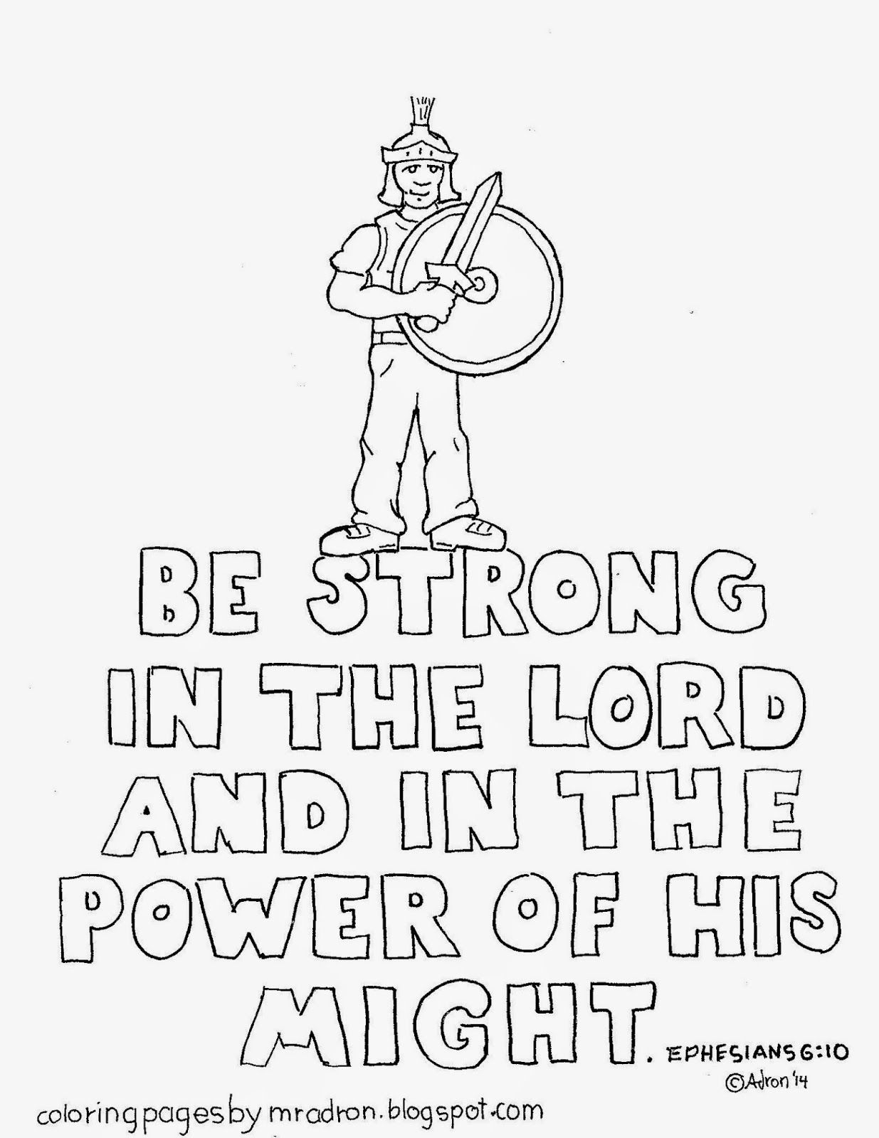Be strong in the Lord coloring page. See more at my blog