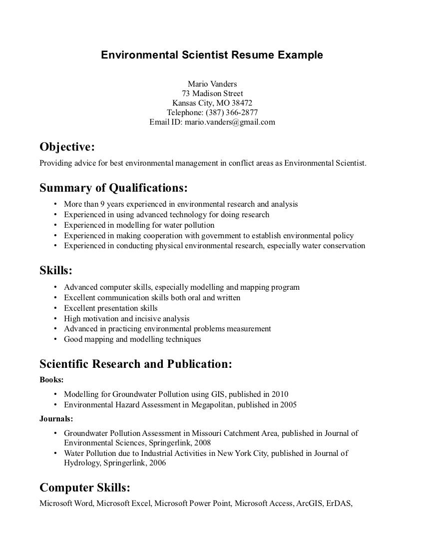Environmental Science Resume Sample Resumecareer Info