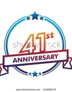 Blue circle and star with purple ribbon st anniversary design vector also rh pinterest