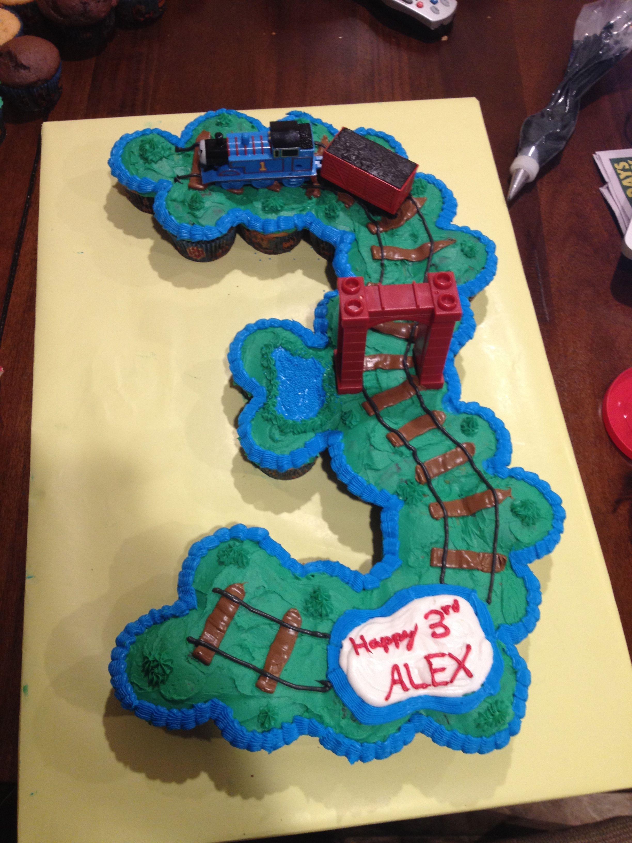 Thomas The Tank Engine 3 Cupcake Cake