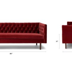 Red Velvet Sofa Furniture Rent Bangalore Tufted Upholstered Article Chester