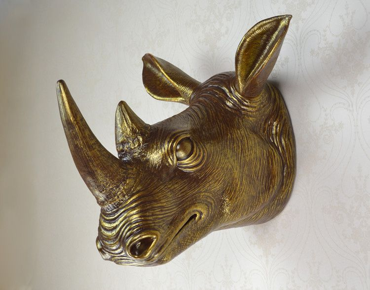 Wall mounted african rhinoceros head trophy art plaque hunt sculpture faux taxidermy modern hanging also rh pinterest
