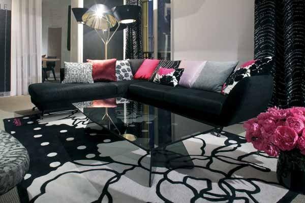 Modern Furniture Design Roche Bobois Black Couch Bright Pillows