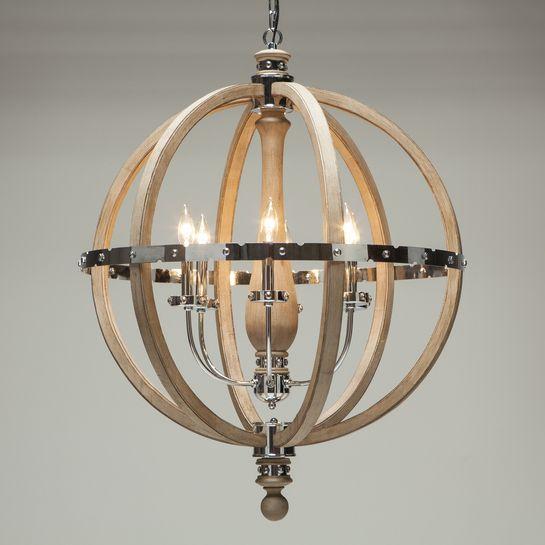 Engineered 32 Wood Stainless Steel Globe Chandelier
