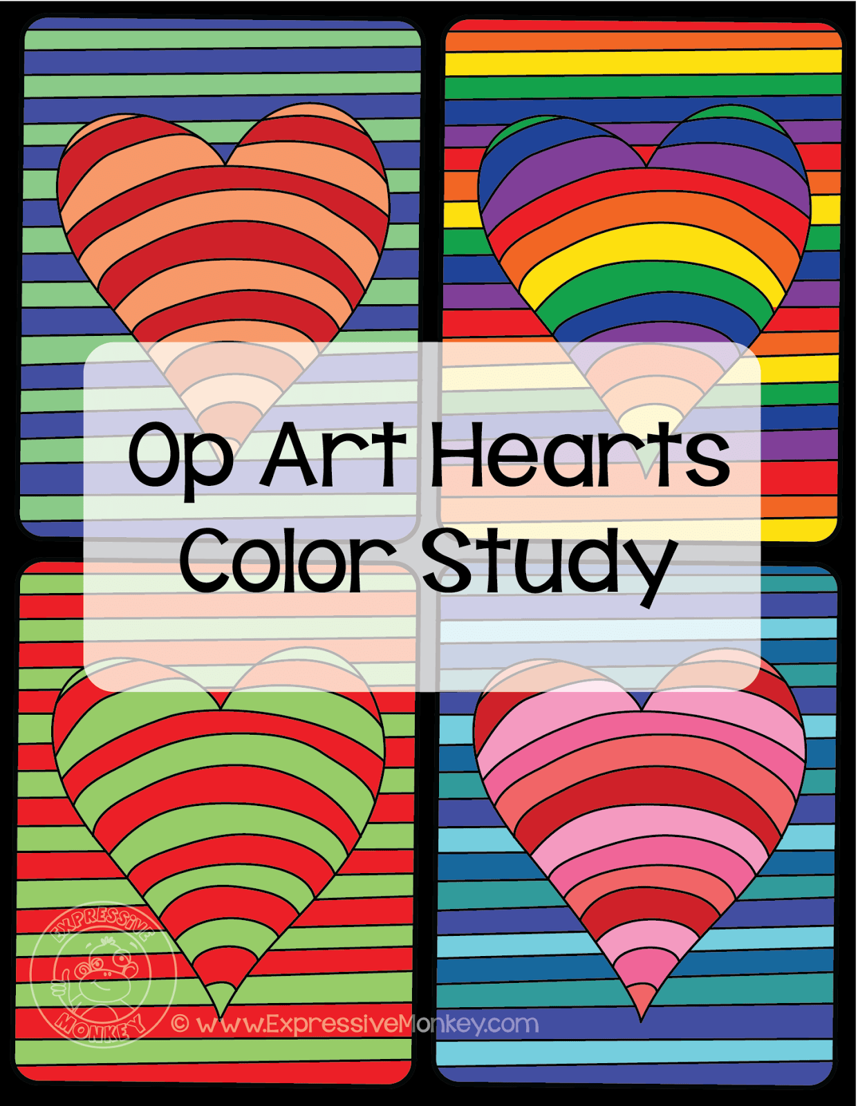 Op Art Hearts Color Study By Expressive Monkey See Some Examples Of How You Can Use This Simple