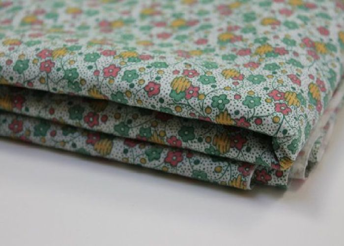 Vintage cotton fabric abstract pastel floral mint green pink golden yellow tiny flowers on polka also
