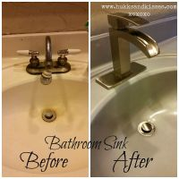 Spray Painted Bathroom Counter and Sink | Painted ...
