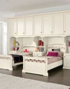 Unique bedroom furniture endearing girl design ideas with white wooden twin bed frames and large storage cabinets also shelves brown laminated floor wall childrens clearance simple interior for rh pinterest