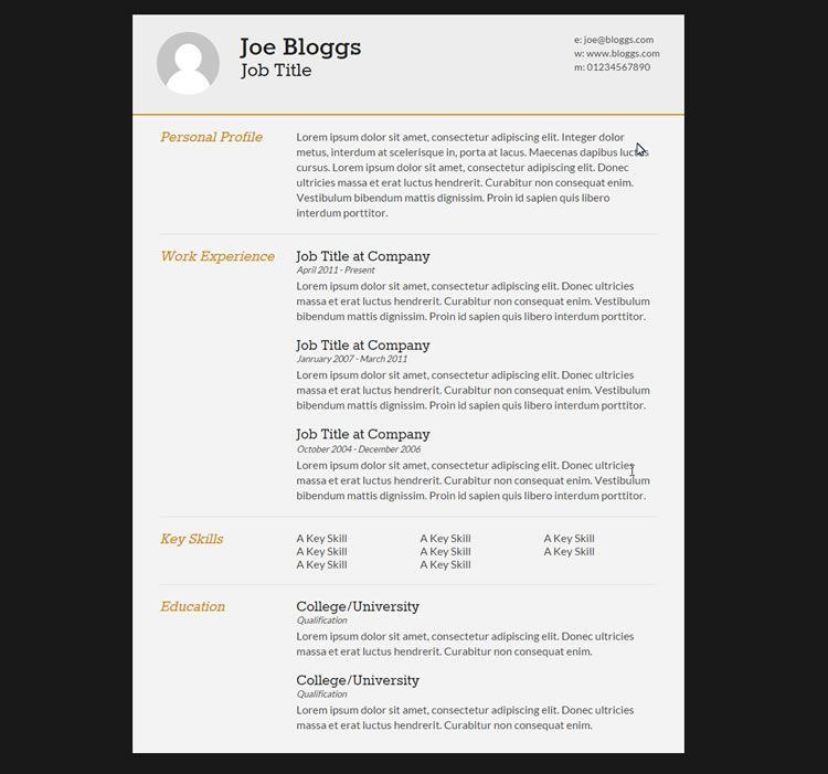 10 Free Professional HTML & CSS CV Resume Templates Cv Template
