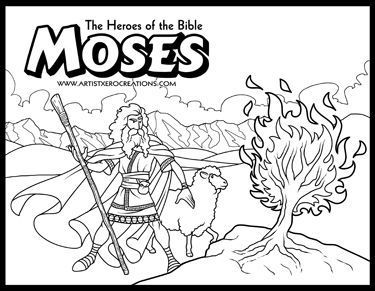 The Heroes of the Bible Coloring Pages: Moses and the