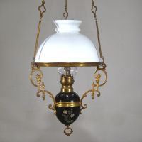 Antique French Hanging Oil Lamp, Weighted, Chandelier