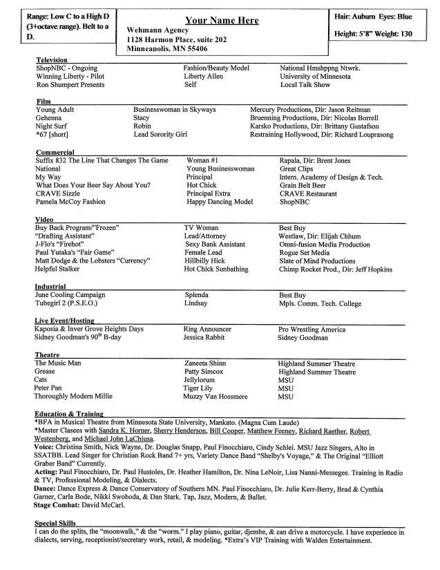 Acting Resume Special Skills Examples