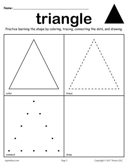 12 Free Shapes Worksheets Color Trace Connect Amp Draw