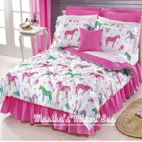 Girls PINK Equine WESTERN PONY HORSE Bedding T/F/Q Sizes ...