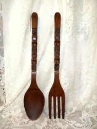 Huge Carved Wooden FORK & SPOON-Tiki-Totem Carved Design ...