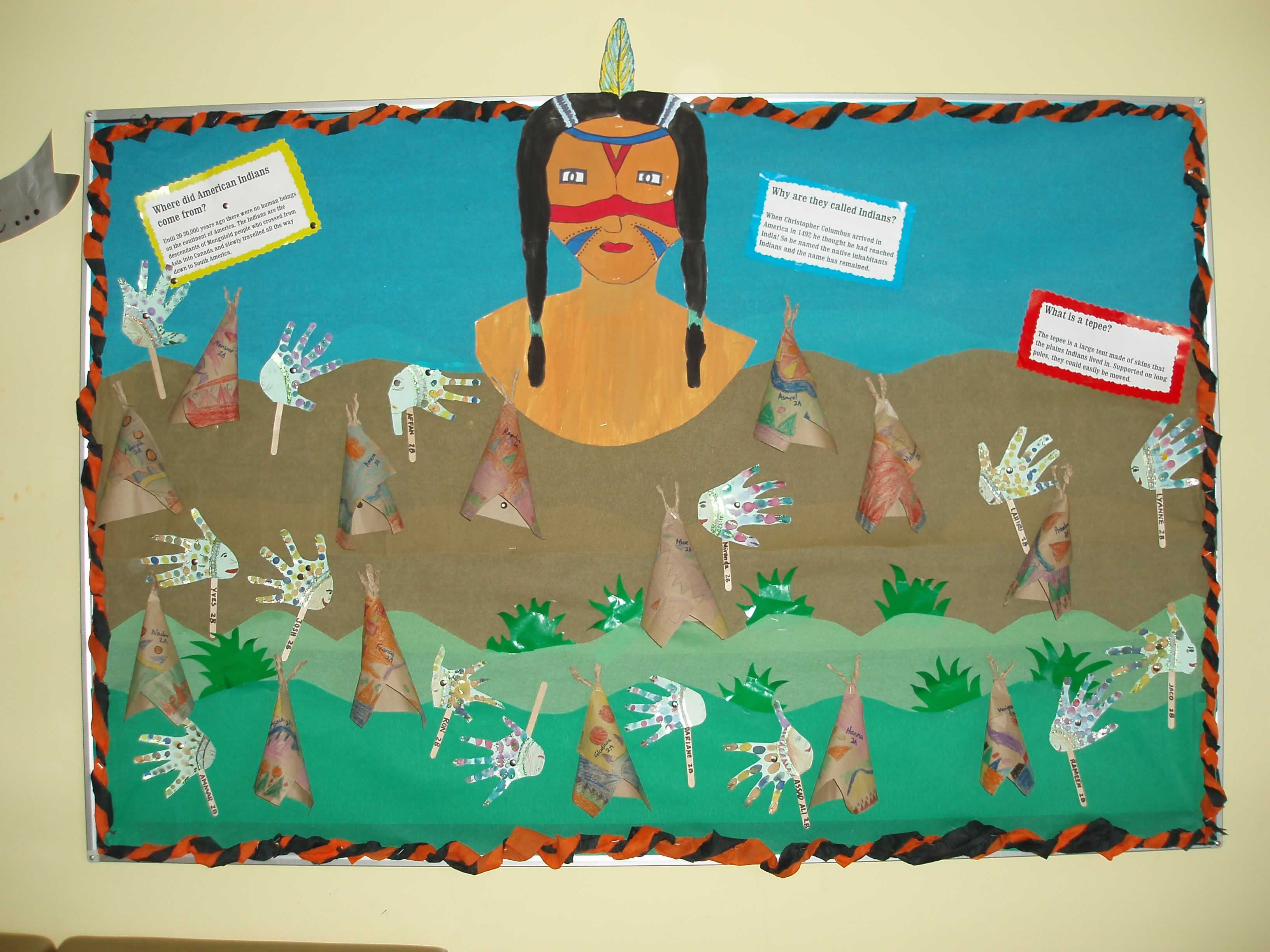 Red Indian Class Bulletin Board