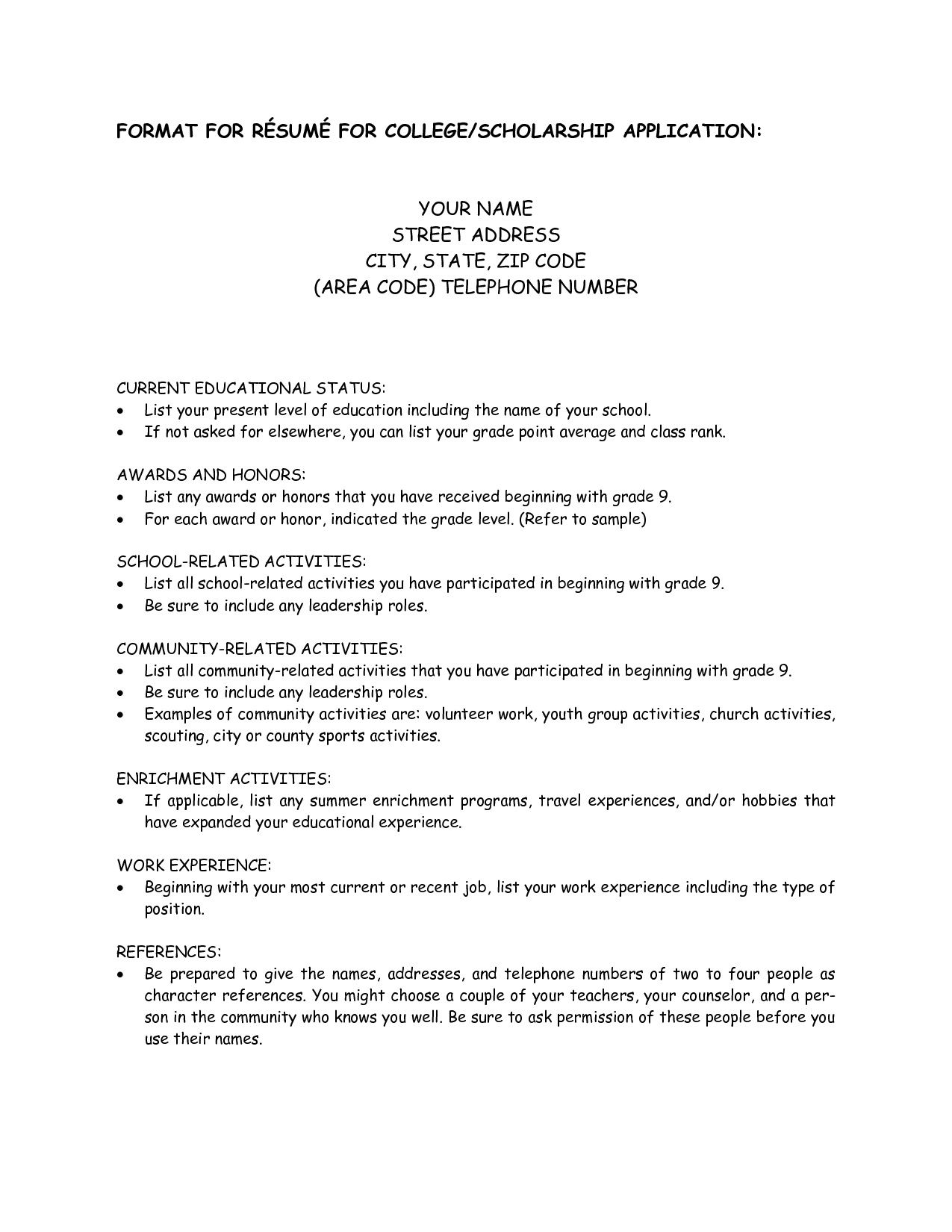 Resume Examples For College Applications College Scholarship Resume Template 1197 Http