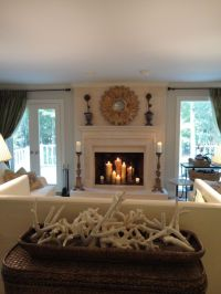 candles in a fireplace Living Room Traditional with ...