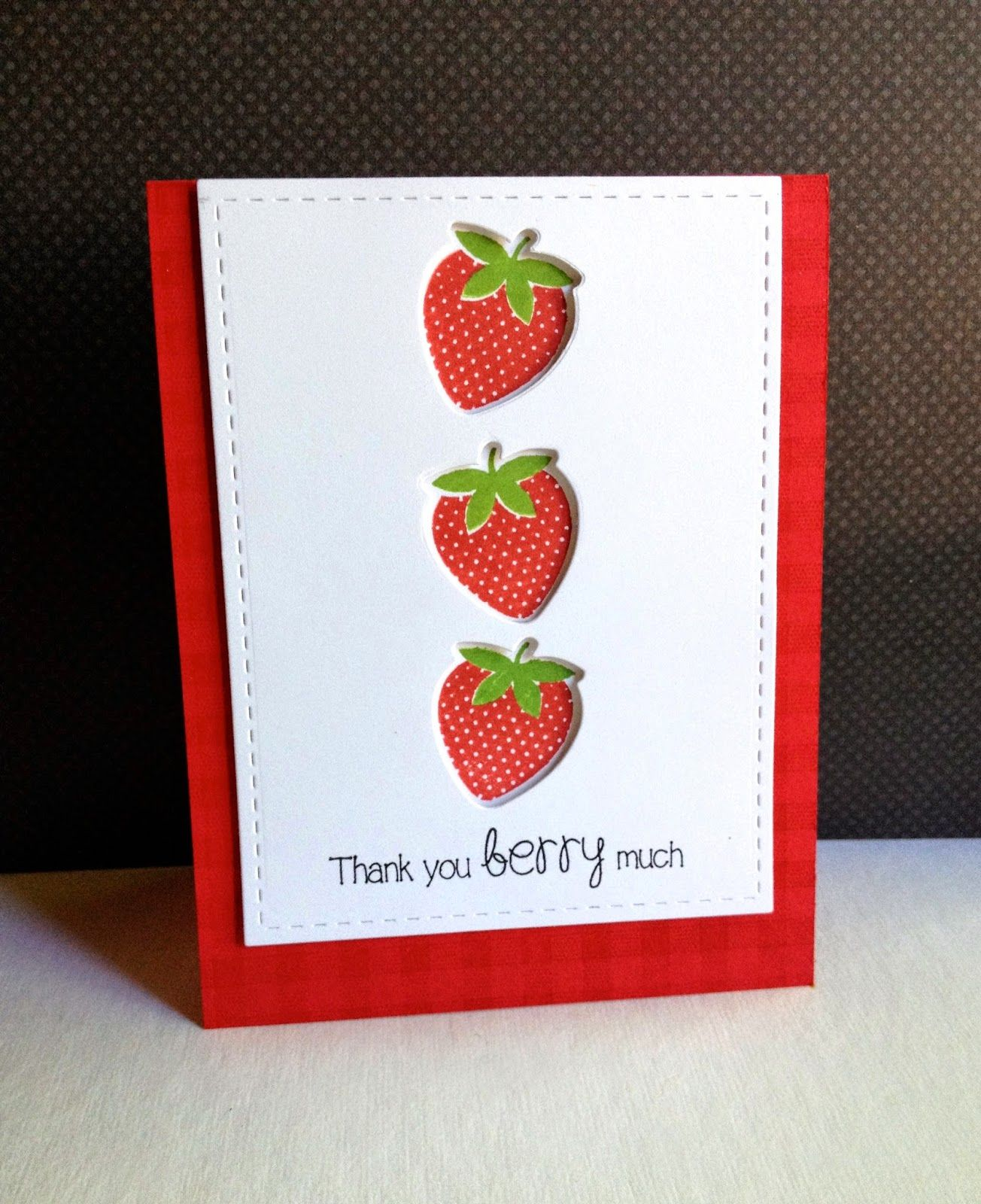handmade thank you card from I'm in Haven strawberries
