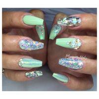 Pastel green coffin nails glitter summer design ...