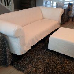 One Arm Sofa Slipcover Sectional Sofas Dallas Chesterfield In White Sunbrella Fabric