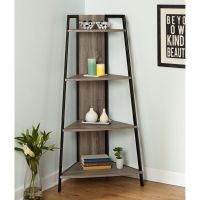 Corner Shelf Ladder Rustic Wood Metal Bookshelf Accent ...