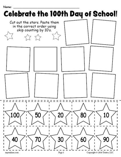 FREE Printable 100th Day of School Skip Counting By 10's