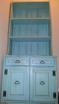 Beautiful Chalk Painted Caribbean Blue Shabby Chic Hutch ...