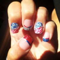 4th of July acrylic nail art designs, red white and blue ...