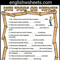 For and Since Esl Printable Grammar Exercise Worksheet For