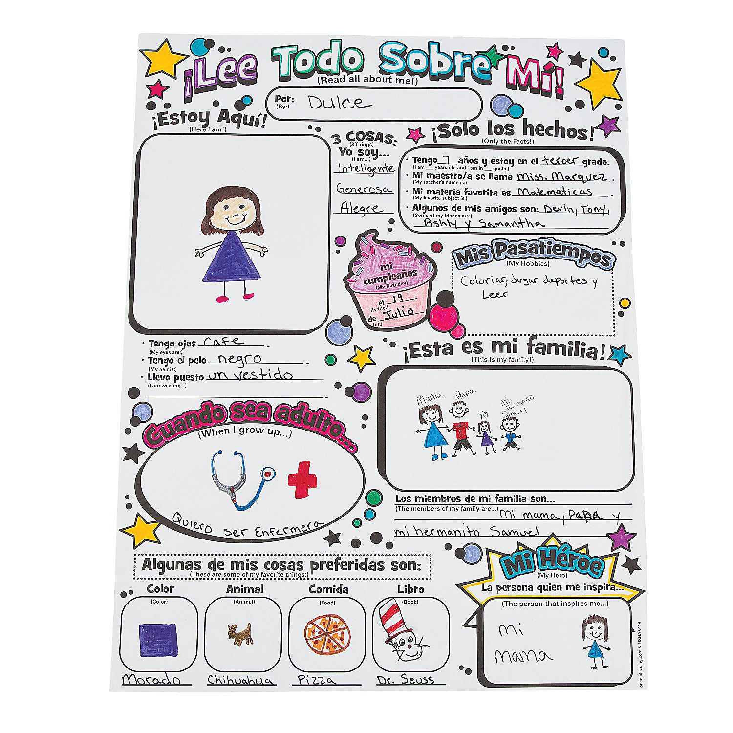 Color Your Own Spanish All About Me Posters Coloring Crafts Crafts For Kids Craft Amp Hobby