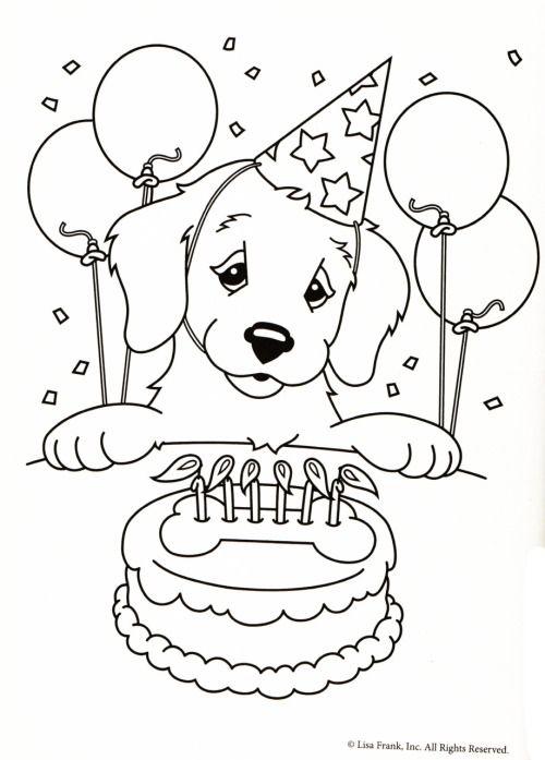 Kleurplaat hond verjaardagstaart ️Adult Coloring Pages