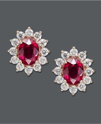 Effy Collection 14k Gold Earrings, Ruby and Diamond Oval ...