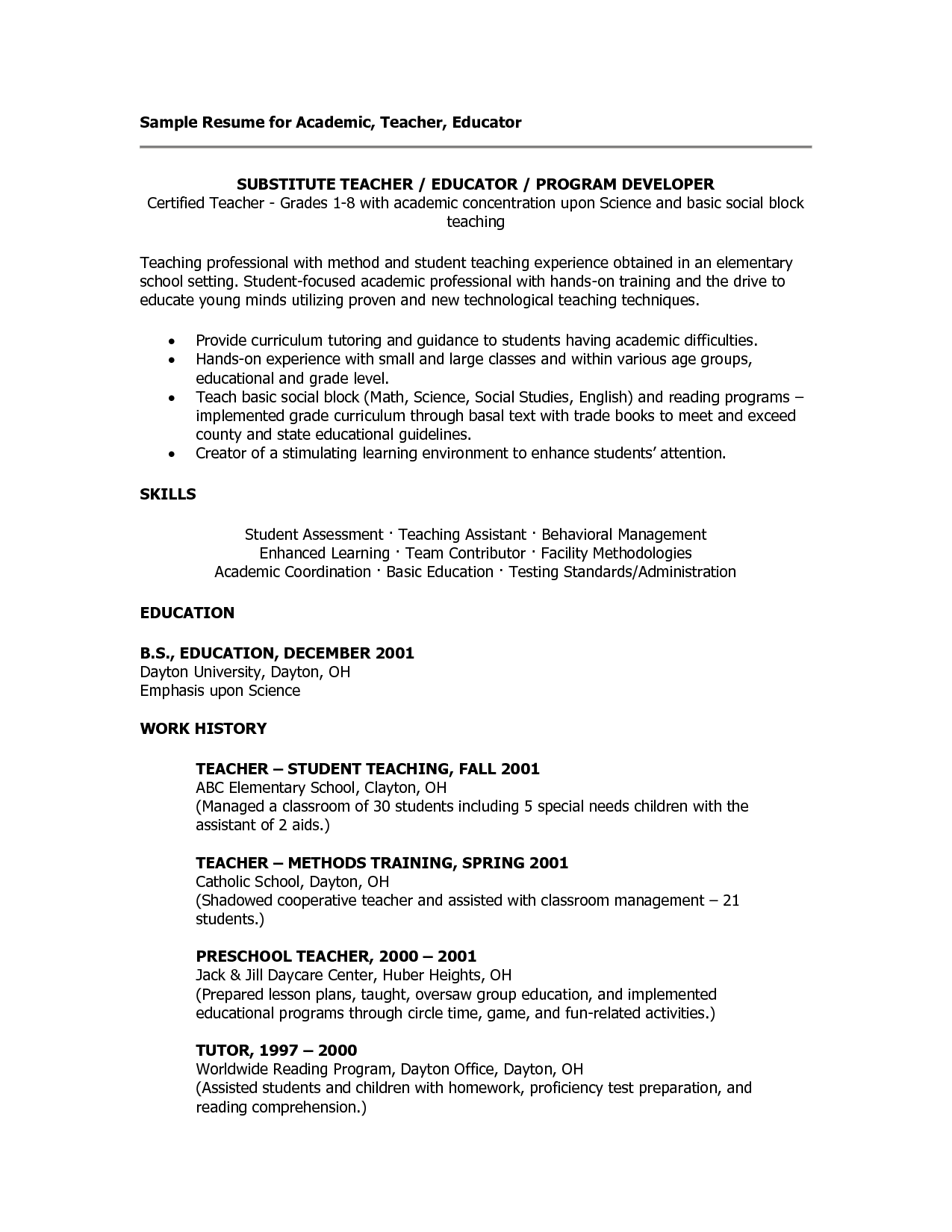 Sample Teacher Resume Templates Sample Teacher Resumes Substitute Teacher Resume