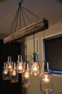 UNIQUE Mason Jar Light Chandelier Pendant Ceiling 7 Jars ...