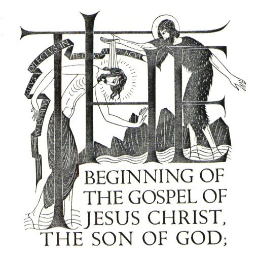 Eric Gill. Wood-engraved chapter-headings for The Four